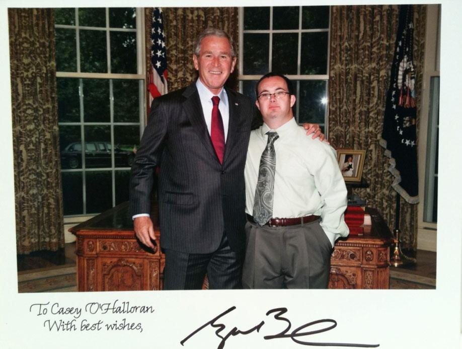 Casey with President George W Bush as he was appointed (twice!) to the President's Committee for People with Intellectual Disabilities.